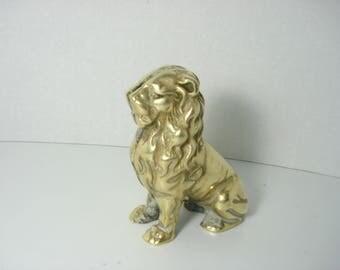 Vintage Brass Lion - Coin Bank Figurine - Office Decoration - Gold Ornament