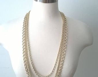 Vintage Long Chain Gold Necklace - Multi Chain - Triple Strand Jewelry 1970s - 36 inches