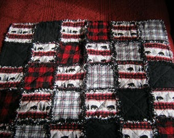 """One of a Kind 38"""" x 38"""" Flannel Rag Quilt in Black, Red and Cream Woodland Flannel Fabrics"""