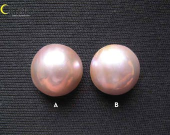 Rose Gold Mabe Pearl Cabochon 15mm round (choose 1 or 2 pcs)