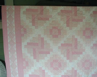 """Vintage Pieced Patchwork Quilt-Bedspread, One of a Kind, Hand Made, Some Hand Quilting,  70 x 94"""", Pink and White, 100% Cotton Fabrics"""