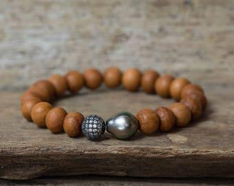 Tahitian Pearl Bracelet, Diamond Bracelet, Stacking Bracelet, Stretchy Bracelet, Sandalwood Bracelet, Layering Bracelet, Boho Bracelet