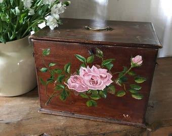 French Wood Artist Box, Handpainted Florals, Pink Roses, Blue Cornflowers, Marguerite Daisies, Antique, Original Key
