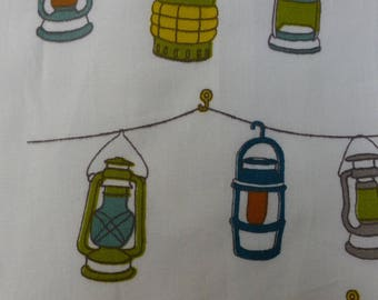 1/2 Yard Organic Cotton Fabric - Birch Fabrics Camp Sur 3, Lanterns Poplin