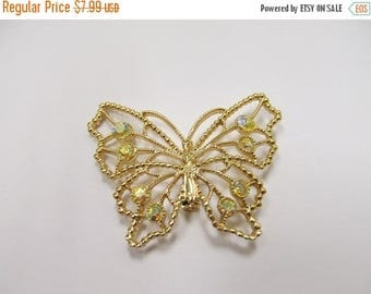 ON SALE Vintage Rhinestone Butterfly Pin Item K # 728