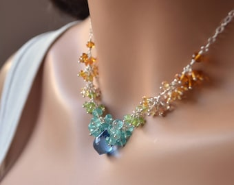 Gemstone Cluster Necklace, London Blue Topaz, Citrine, Peridot, Sterling Silver, Bridal, Wedding Jewelry - Citrus Punch - Free Shipping