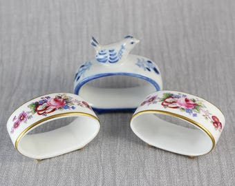 Odd Set of 3 Oval Napkin Rings Holders Set of Two and Bird Detail Ceramic Ring