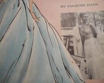 Vintage 1950's Vogue 1343 Paris Original Jacques Heim Dress Sewing Pattern Size 12 Bust 32