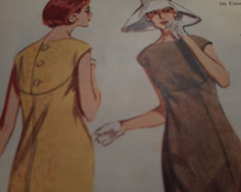 Vintage 1960's Butterick 3031 Boutique Dress Sewing Pattern Size 12 Bust 32