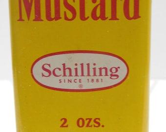 Vintage 1950 Schilling Mustard 2 Ounce Tin