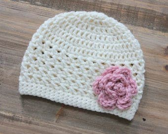 Little Girl Crochet Flower Hat, Cream Crochet Baby Girl Hat with Pink Flower, Toddler Girl Hat