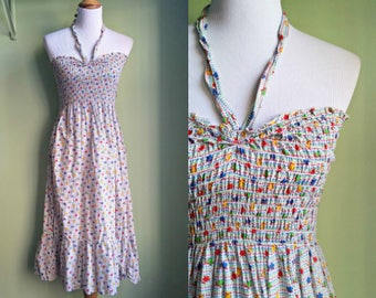 1980s Tie - Neck Sundress - Primary Color Tube Dress - Sundress - S/M
