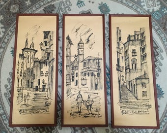 MCM Signed Revas Drawings Sketches of Scenes in Madrid, Spain (set of 3); Father's Day