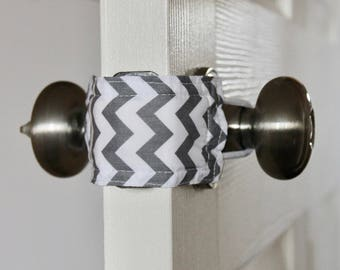 Grey Chevron door latch cover for classrooms, school, teachers, school rooms.
