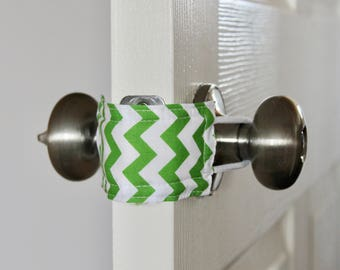 Green Chevron Door Silencer, Door Jammer, Nursery Door Silencer, Door cushion, Door latch cover, baby shower gift, PATENTED LATCHY CATCHY