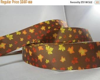 Fall Leaves Ribbon, Thanksgiving ribbon, leaves, fall, Fall ribbon, grosgrain ribbon, 7/8 Inch Ribbon, RN17025