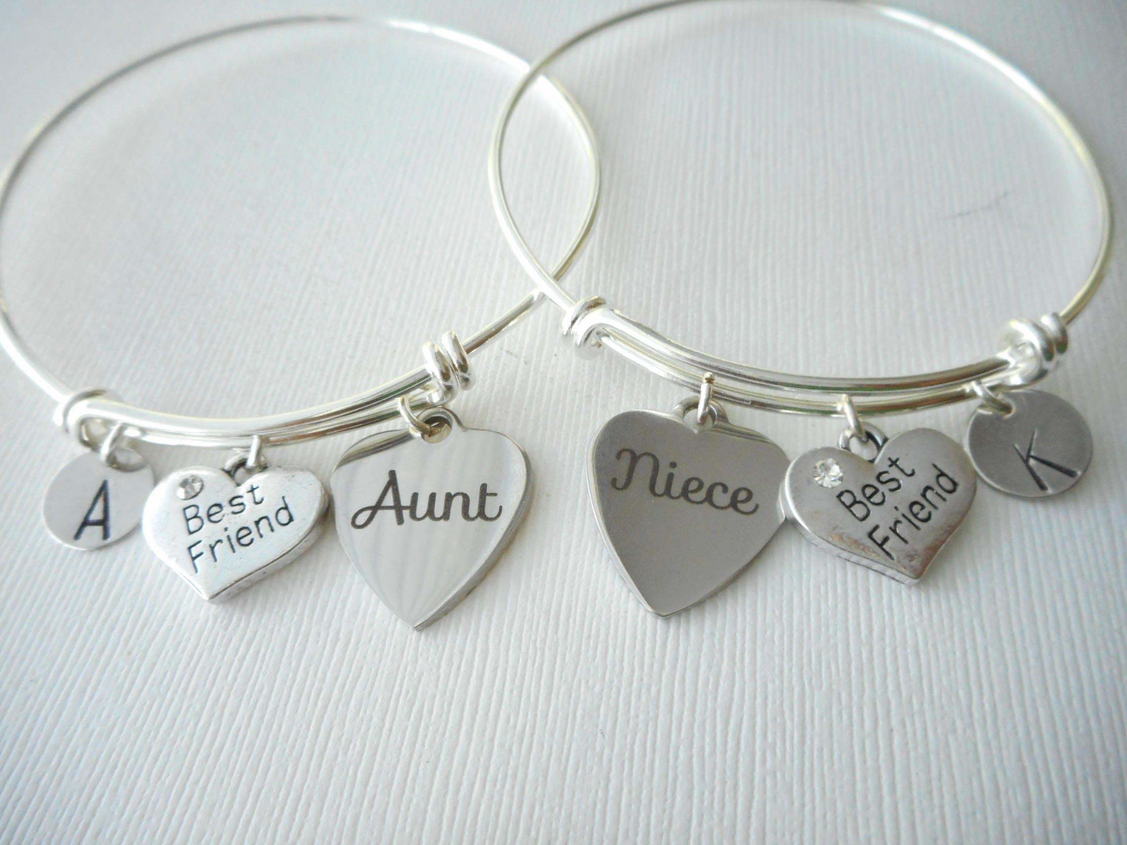 aunt niece initial bracelets niece and aunt set aunt and niece