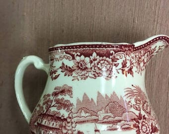 "JUNE SALE RED Toile Creamer  Royal Staffordshire ""Tonquin"" Dinnerware by Clarice Cliff  Made in England"