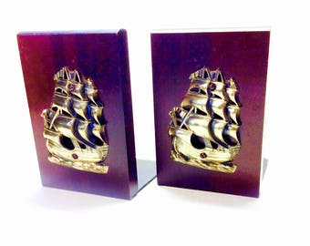 Brass Ship and Cherry Wood Bookends Standard Specialty Co Spanish Galleon, Nautical Library