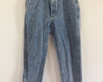80's 90's Lee High Waist Acid Washed Zip Ankle Mom Jeans M