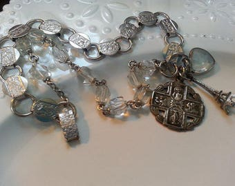 Antique Relgious Assemblage, Antique Rosary Bracelet, Antique Bracelet