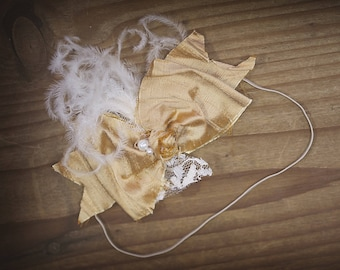Gold and Ivory Silk  Bow baby bow newborn bow Hand Rolled Rosettes Headband with Curly Feathers, Lace, Pearls and Crystals