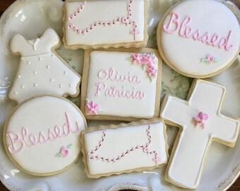 One dozen Baptism/Christening cookies