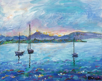 sailboats seascape blue pink sunset painting San Juan Islands giclee art print choose your size Peggy Johnson every good color