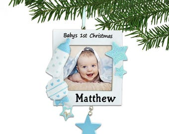 Blue Babys First Christmas Engraved Photo Frame Ornament