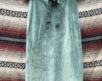 Seafoam Velvet Tie Waist Skirt: XS/2