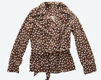 SALE Vtg 70s brown + white BIRD boho hippie festival wrap dress shirt TOP Blouse M