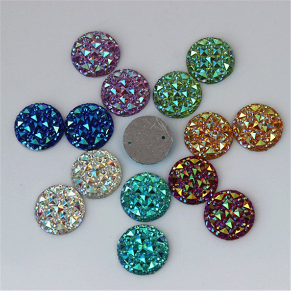 50pcs 12mm Mixed AB Flat Back Round Sew On Resin Rhinestone Embellishment Gems by MajorCrafts