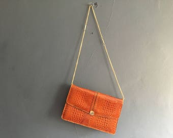 Tan embossed Leather Clutch with Gold Chain Strap