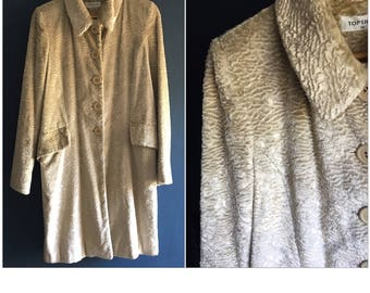 1940s Style Ivory Faux Astrakhan Fur Coat UK 12