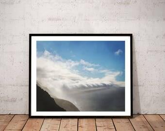 "coastal landscape photography / nature California Pacific Ocean cloud sky art print / white blue large wall art / ""Sonoma Coast fog bank"""