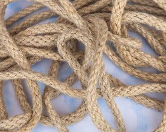 "5 7/8 Yards of 1/2"" Vintage Jute Cording. Jute Rope. Rope Trim. Braided and Woven Natural Jute Rope. Sewing, Embellishments, Art. Item 3308T"
