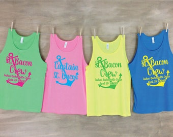 Captain and Crew Bachelor Beach Tank Sets // Bachelorette party shirts neon // Personalized Bachelor Tanks