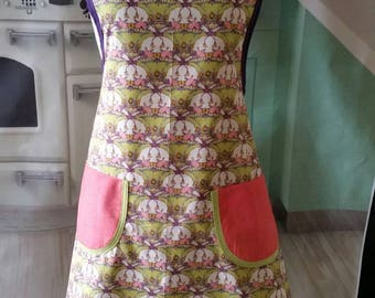 Retro style  woman's apron lime peach purple