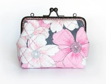 4.5'' Coin Purse, Clutch Bag– Pink,White Flora, Gray