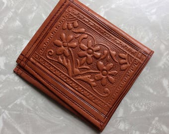 Brown Leather Wallet - Vintage Flower Billfold