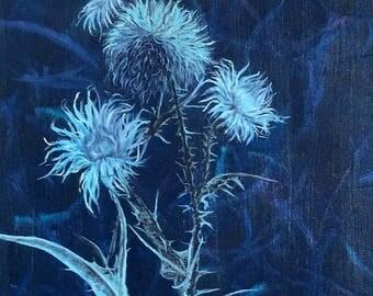 "Fine Art 12 X 16 Oil Painting ""Blue Thistles"""
