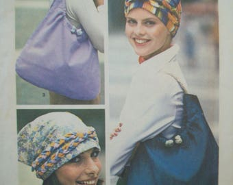 Turban, Scarf, Tote Bag Vintage Simplicity Pattern 7359 Uncut One Size