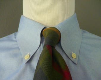 Vintage POLO by Ralph Lauren 100% Cotton Dark Plaid or Tartan Trad / Ivy League Neck Tie.  Made by Hand in the USA.