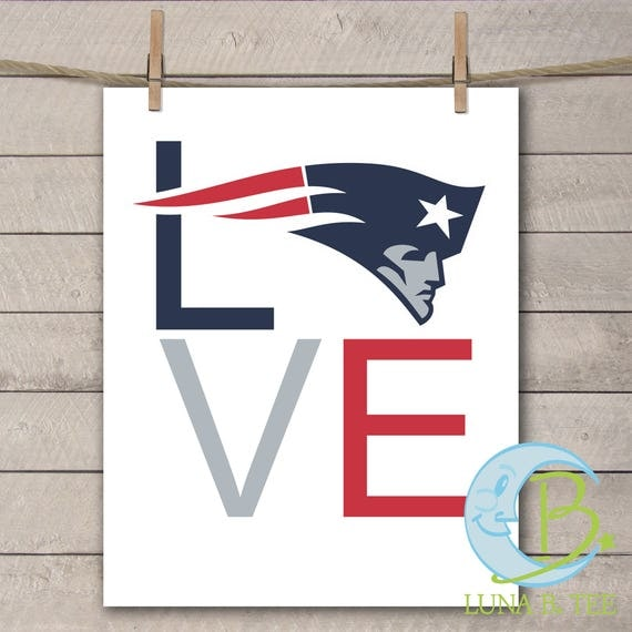 INSTANT DOWNLOAD New England Patriots love Printable DIY Iron On to Tee T-Shirt Transfer Do It Yourself - Digital File