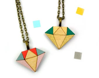 Geometric Necklace - Diamond Necklace - Contemporary Jewelry - Crystal Necklace - Gifts for Girlfriend - Wooden Jewellery - Unusual Gift