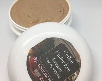 Coffee Under Eye Cream with an added shot of Caffeine for treatment of dark circles and puffy under eye/wrinkle reducing age spot treatments