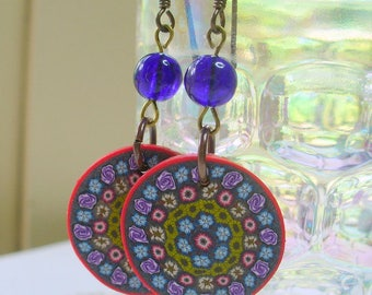 Kaleidoscope and Cobalt Blue Dangle Earrings, Round Polymer Clay Bead, Colbalt Blue Bead,  Antique Brass, Polymer Clay Earring, Long Dangle