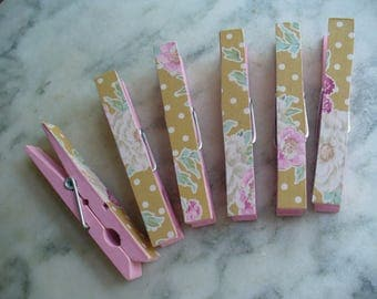 Pink Decorative Clips, Floral Clothspins, Wooden Pegs, Picture Clips, Office Clips, Large Painted Clothes Pins, Message & Bulletin Boards