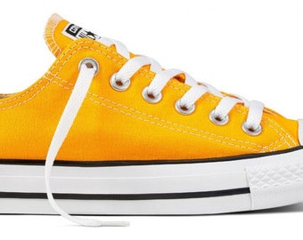 Converse Low Top Yellow Orange Sun Ray Canvas Custom Wedding w/ Swarovski Crystal Rhinestone Bling Jewel Chuck Taylor All Star Sneaker Shoe