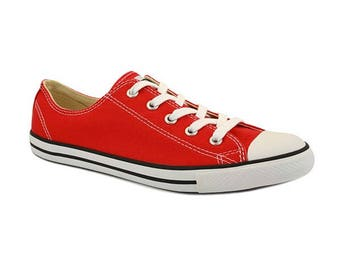 Red Converse Dainty Varsity Custom Beach Kicks w/ Swarovski Crystal Jewels Rhinestone Bling Chuck Taylor All Star Sneaker Shoe